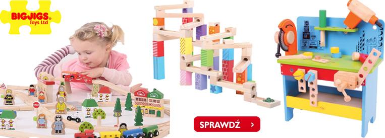 zabawki drewniane, zabawki z drewna, bigjigs, kolejka z drewna, kulodrom